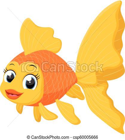 Cute goldfish cartoon.