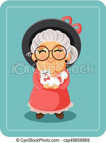Cute Senior Lady with Her Cat Pet Vector Illustration.eps.