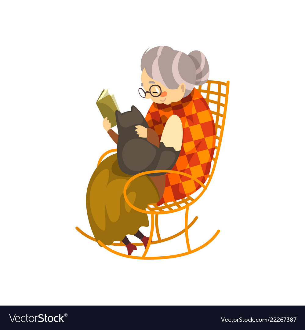 Cute granny sitting in a cozy rocking chair and.