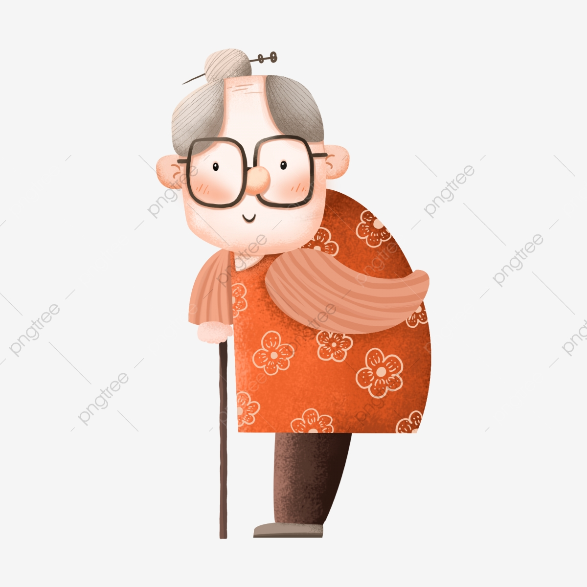 Older Grandmother Decoration Cartoon Cute Expression Commercial.