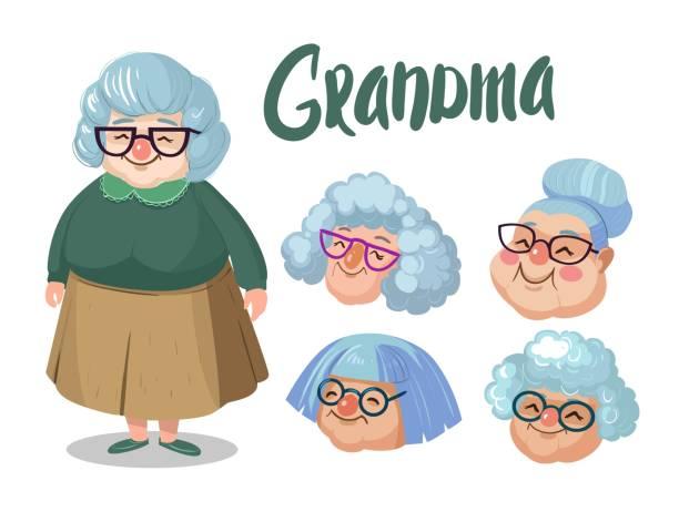Best Cute Grandma Illustrations, Royalty.