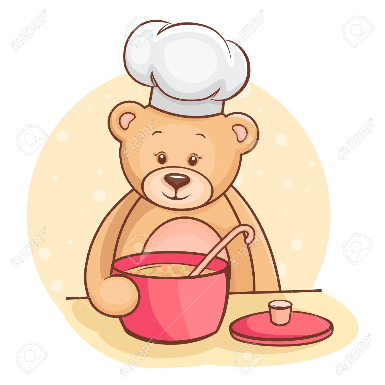Cute Bear Cooking Clipart.