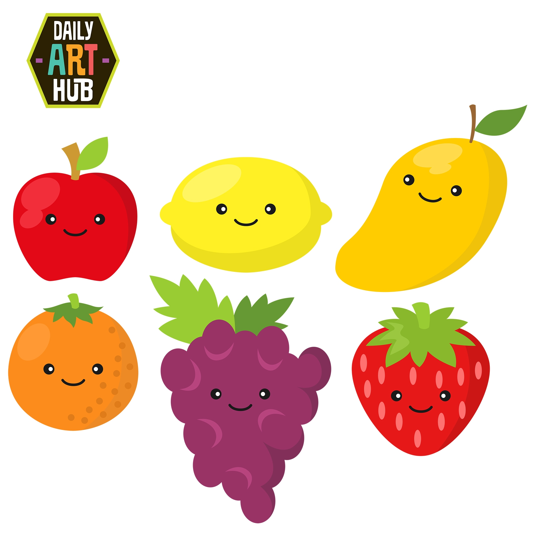 Kawaii Fruit Clip Art.