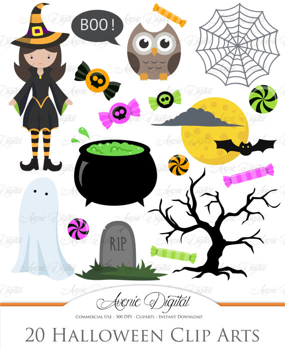 Cute halloween Clipart. Scrapbooking printables, Holiday set for.