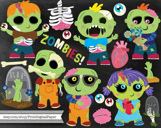 Cute Zombie clip art commercial use instant download PNG vector.