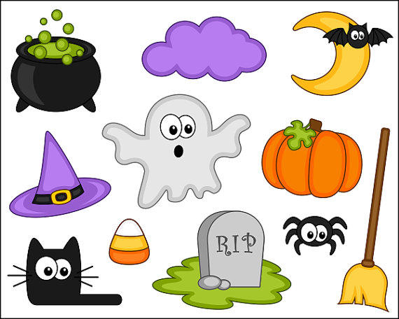 Cute Halloween Clipart, Digital Clip Art, Pumpkin, Black Cat.