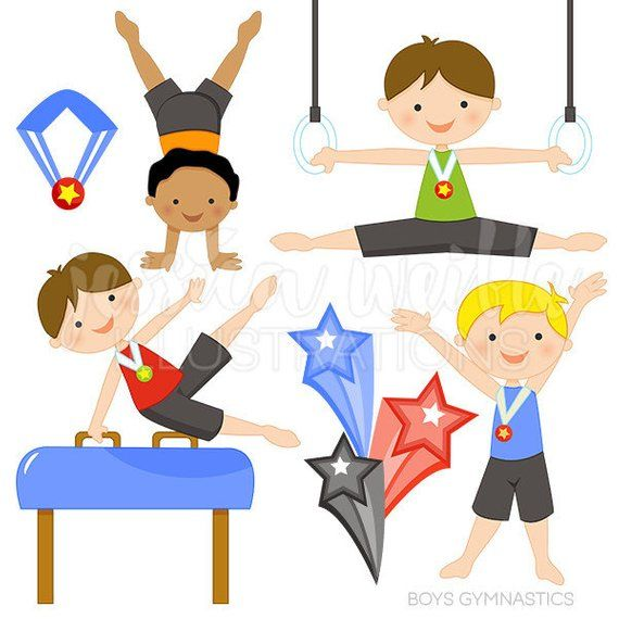 Get ready to Tumble with this cute Boys Gymnastics clipart.