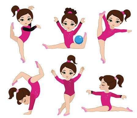 Gymnastics cute girls set. Clipart Image.