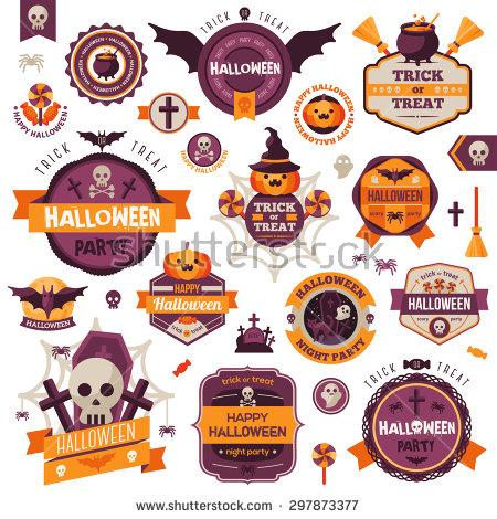 Set Vintage Happy Halloween Badges Labels Stock Vector 297873377.