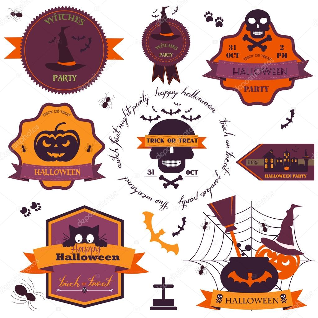 Set Of Vintage Happy Halloween Badges and Labels.Vector.