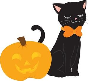 Cute Halloween Black Cat Clipart Free.