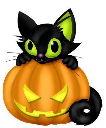 HALLOWEEN PUMPKIN AND BLACK CAT, CLIP ART.