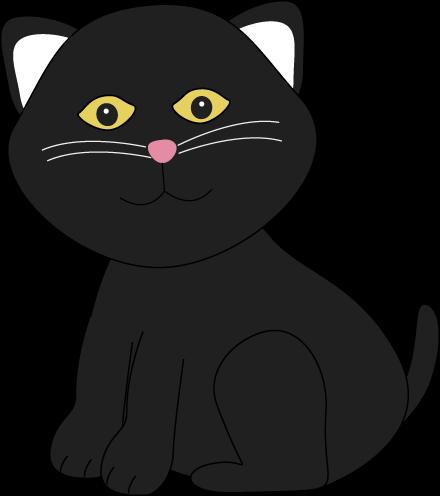 Cute Halloween Black Cat Clip Art.