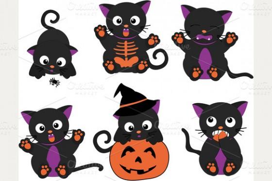 Cute Halloween Cats Clipart.