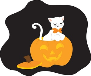 Cute Black And White Halloween Cat Clipart.