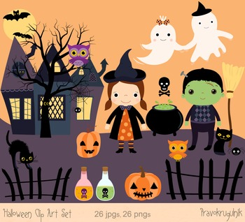 Cute Halloween Clipart Set, Haunted House Clip Art, Ghost graphics.
