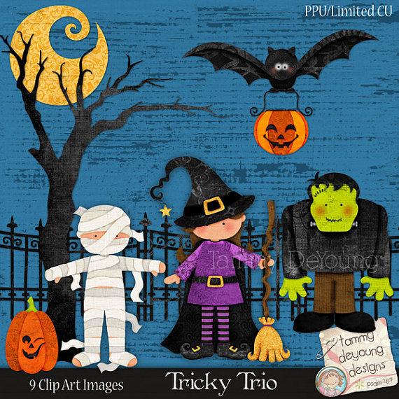 Cute Halloween Clip art, Digital mummy, witch, frankenstein, bat.
