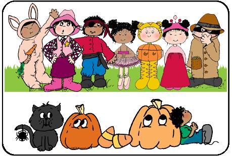 Cute Halloween Kids Clipart.