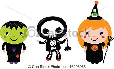Halloween Cute Kids In Costume Free Clipart.