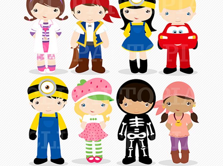 Kids Costume Party digital clipart / Cute Halloween costume kids.