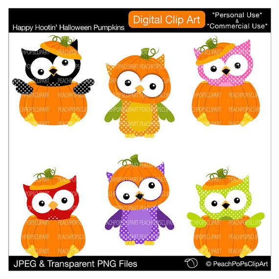 Cute Halloween Owl Clip Art.