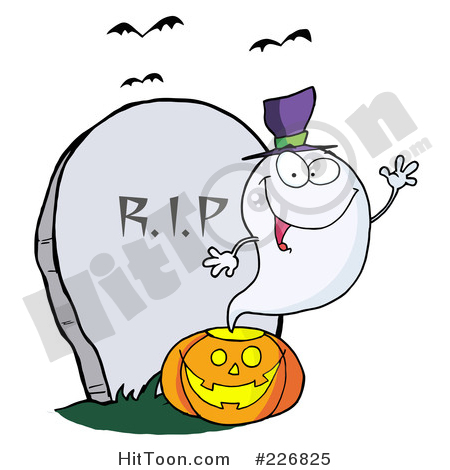 Ghost Clipart #226825: Cute Halloween Ghost Wearing a Witch Hat.