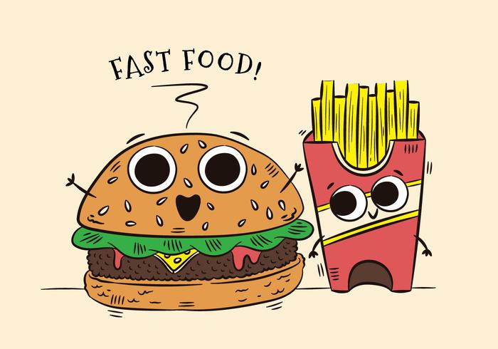 Cute Burger And Fries Character Fast Food.