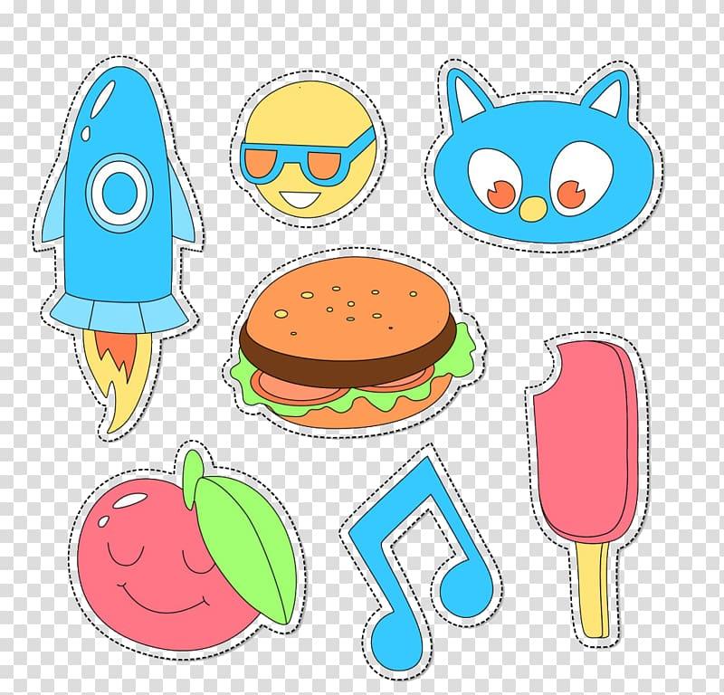 Paper Hamburger Sticker , Cute cartoon material transparent.