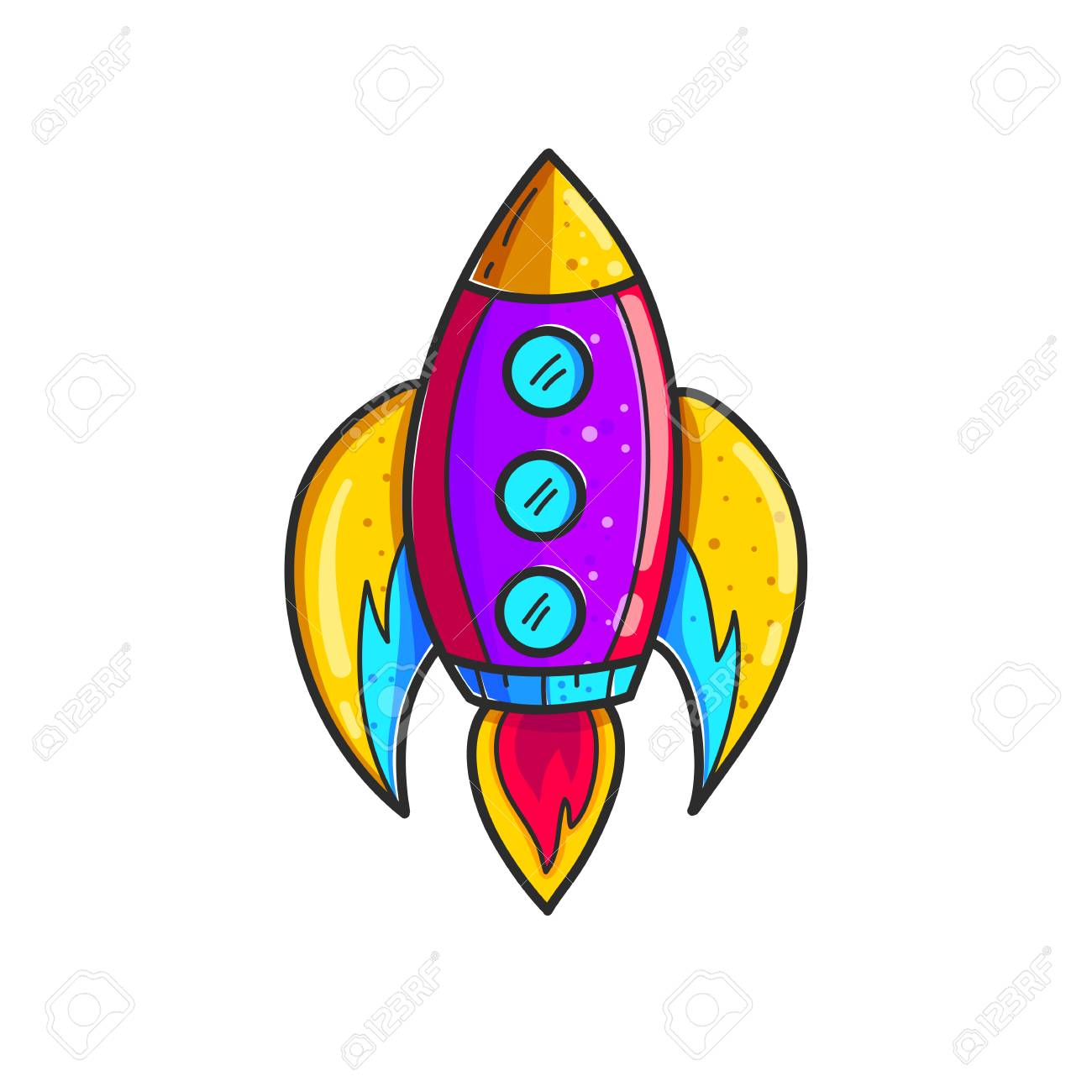 Cartoon rockets hand drawn color icon. Cute space shuttle clipart.