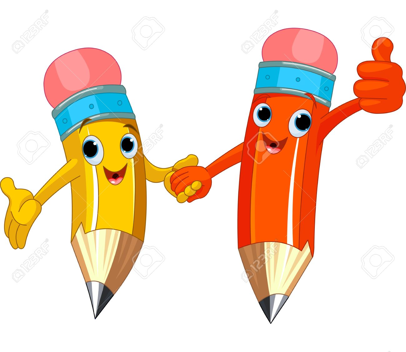 Two Cute Pencils Holding Hands Royalty Free Cliparts, Vectors, And.