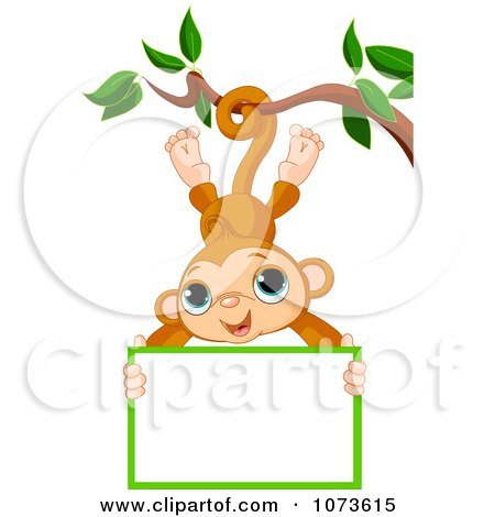 Clipart Cute Monkey Hanging From A Tree With A Sign.