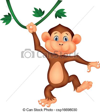 Cute Hanging Monkey Clipart.