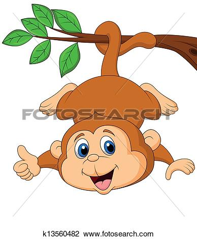 Clip Art of Brown cute monkey hanging from tree k3780677.