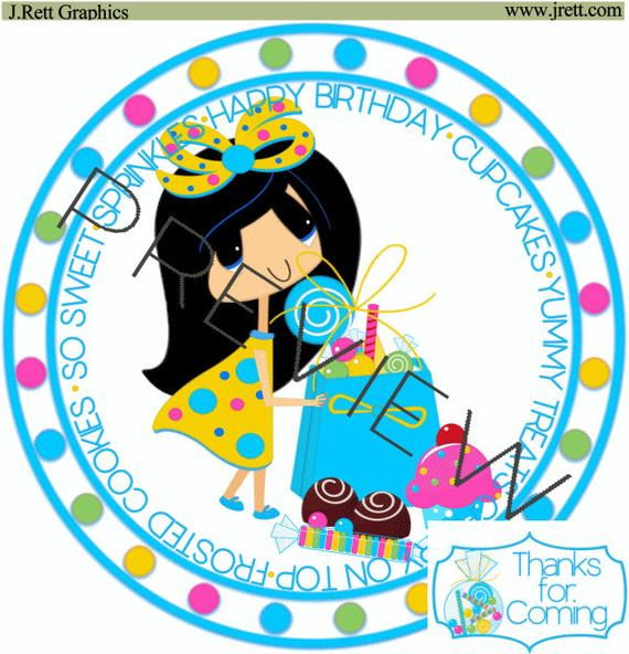 Cute little girl clipart, Happy Birthday Clip art, Birthday party kit,  invites, birthday clipart, candy wrappers, favors, labels, graphics.