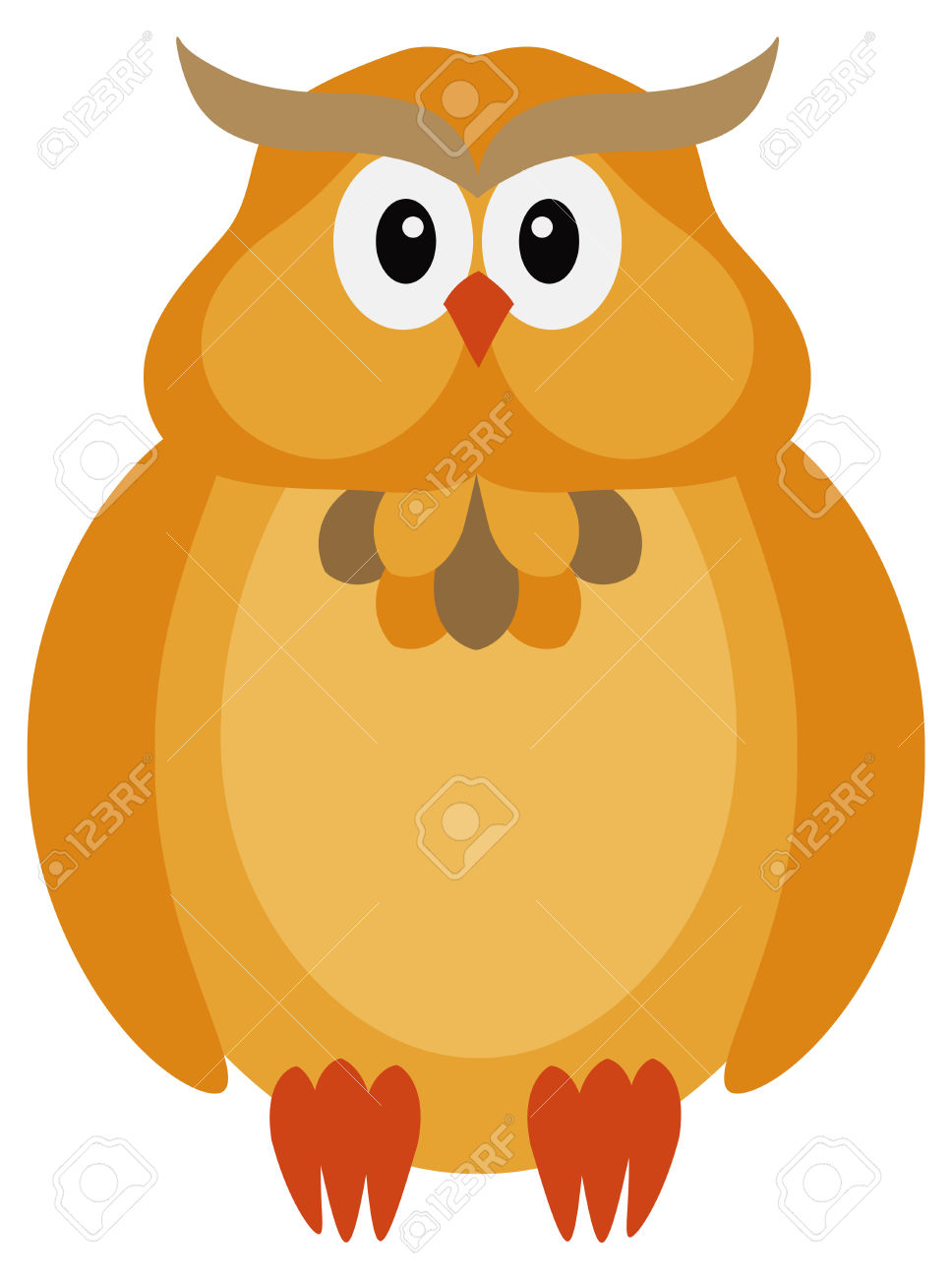 Happy Halloween Orange Fall Color Tone Cute Cartoon Owl Isolated.