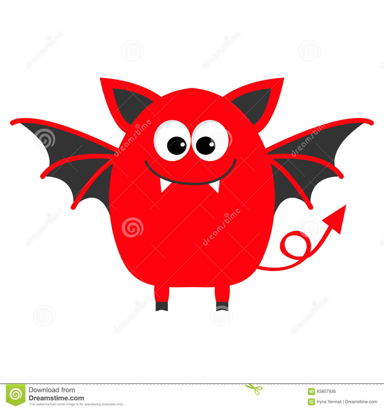 Funny Monster With Fang Tooth And Wings. Cute Cartoon Character.