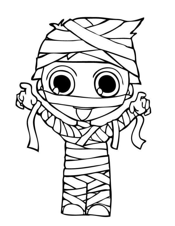 Mummy Costume Halloween Coloring Pages.