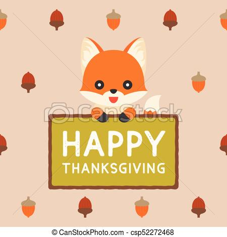 cute fox holding sign happy thanksgiving on acorn pattern background, flat  design vector for holiday.