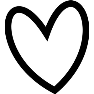 Cute hearts clipart black and white.