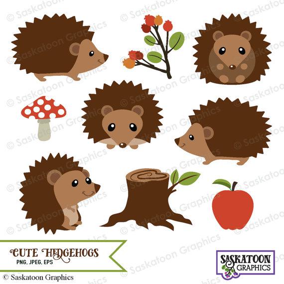 Cute Woodland Hedgehog Clipart.