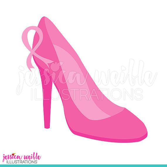 Pink High Heel Cute Digital Clipart, Breast Cancer Awareness Clip.