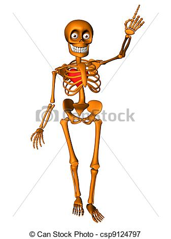 Stock Illustrations of Human skeleton with red heart.
