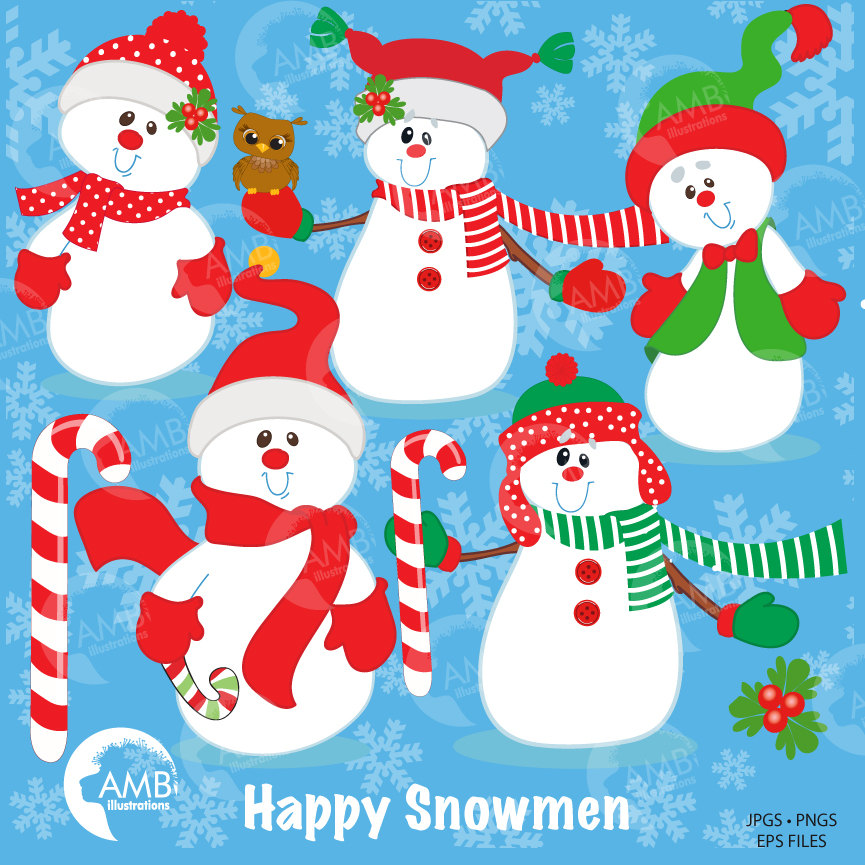 Snowman clipart, Christmas snowman clipart, Holiday clipart, AMB.