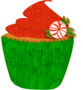 Holiday Cupcake Clipart.