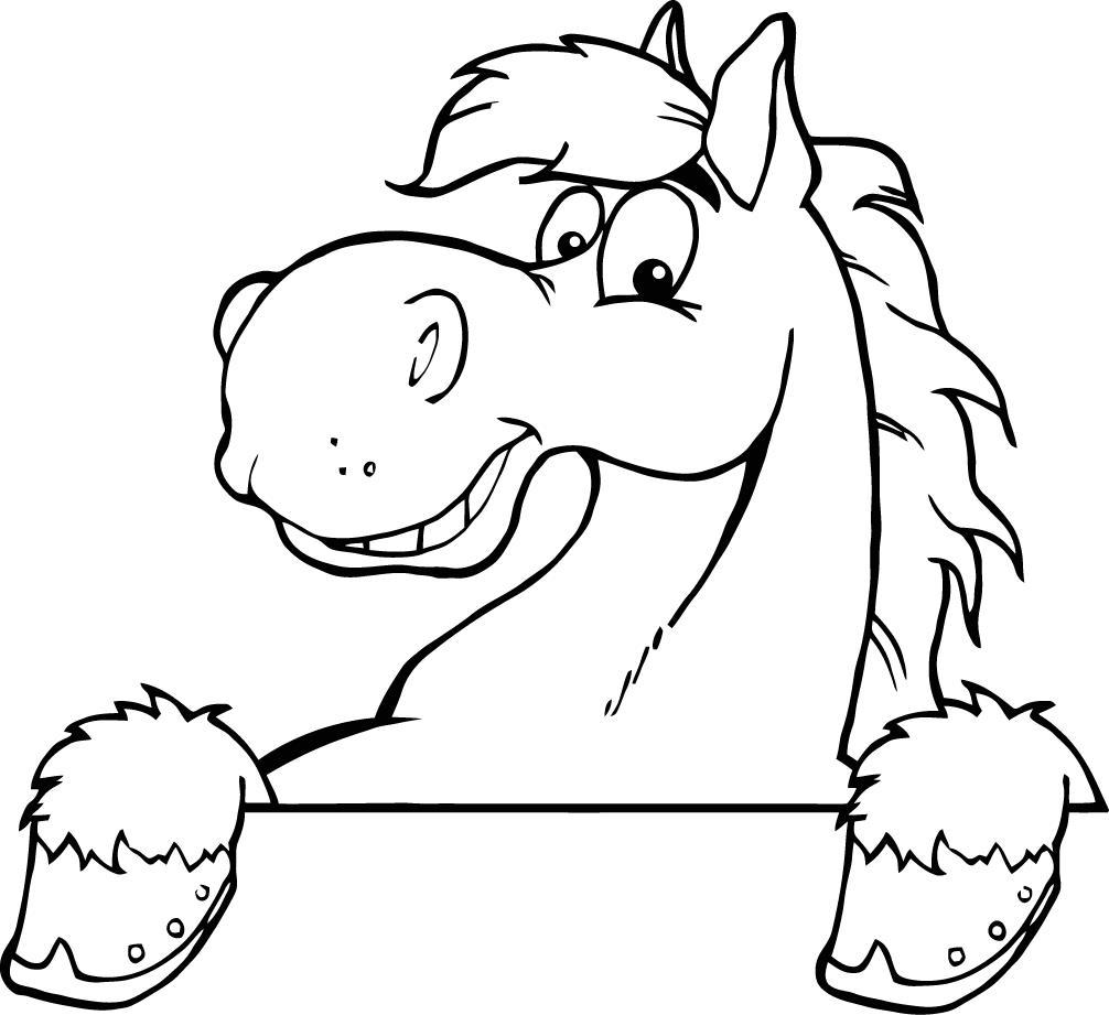 Cartoon Black And White Horse.