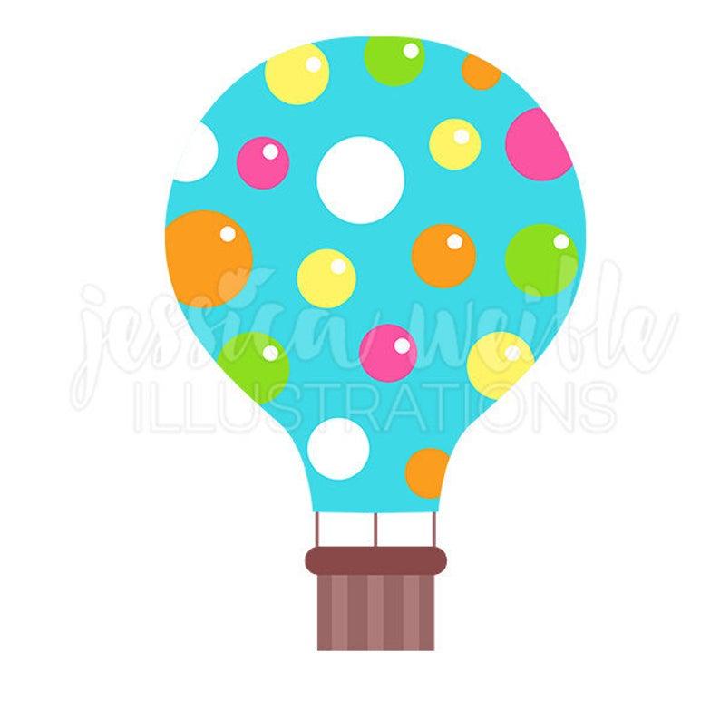 Blue Polka Dot Hot Air Balloon Cute Digital Clipart, Hot Air Balloon Clip  art, Cute hot air balloon Graphic, balloon Illustration, #057.