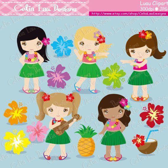 cute hula girl clipart #3