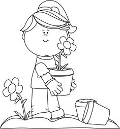 Free Cute Girl Black And White Clipart.