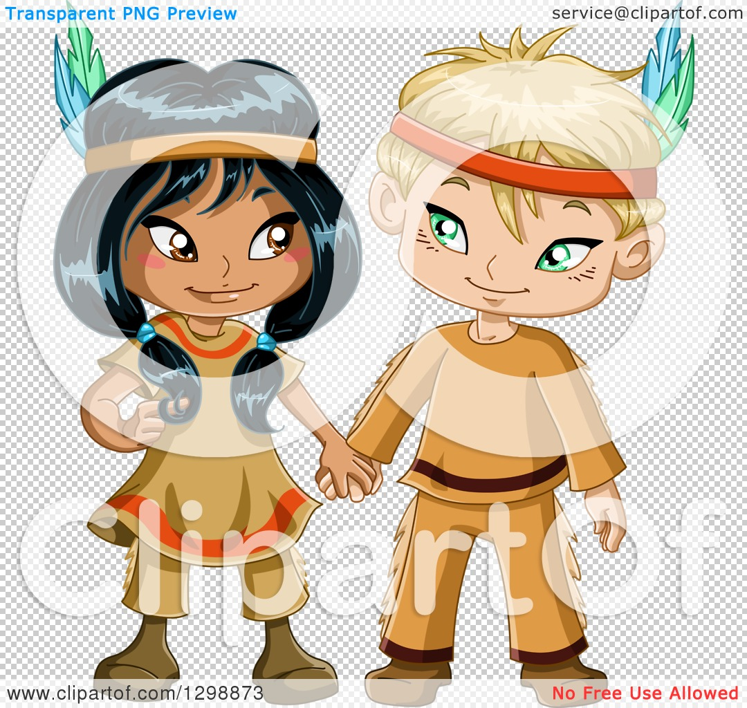 Clipart of a Cute Native American Indian Boy and Girl Holding.