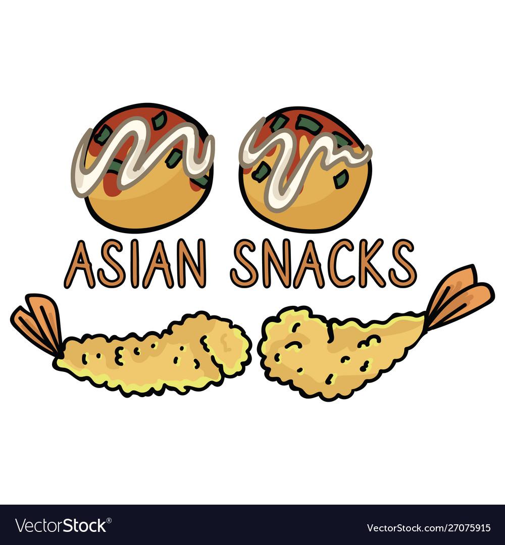 Cute japanese snack assortment tempura and.